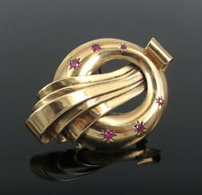 1950's Retro 0.85ct Ruby & 14K Yellow Gold Large Size Brooch