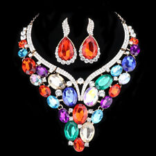 Women Colorful Crystal Necklace Earring Bridal Prom Party Wedding Accessory Sets