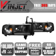 Fits 94-02 Dodge Ram 1500 2500 3500 Headlights Black Clear Lamps