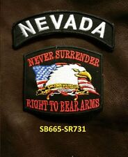 NEVADA and NEVER SURRENDER Small Patches Set for Biker Vest Jacket