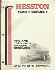 Hesston Liquid Manure Spreader 1510 1520 Form 7780471r1 Operators Manual