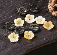 5Pcs Carved Shell Flower Shaped Bead Caps End Spacer Bead DIY Findings 1.5x10mm
