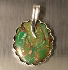 Cactus Green Copper Turquoise Solid Sterling Silver Buttercup Pendant 6.7g 1.375