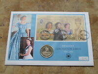 Large 2003 Dominica coin cover / $1 Virgin Islands -- Queen's Coronation Jubilee