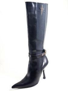 Paciotti Mid Calf Boots High Heel Black Leather Woman Size EU 37 US 6.5 $580