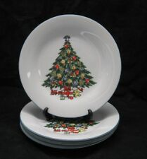 Fine China Dinner Plate Christmas Tree Presents Teddy Bear Angel Set of 4