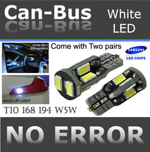4 pcs T10 White 10 LED Samsung Chips Canbus Replacement Parking Light Bulbs G270