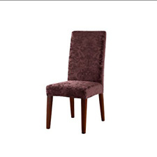 Sure Fit Stretch Jacquard Damask Short Dining Room Chair RAISIN burgandy