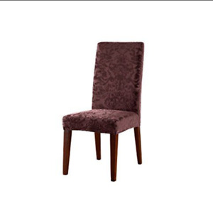 Sure Fit Stretch Jacquard Damask Short Dining Room Chair RAISIN burgandy