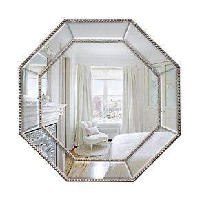 Octagon Wall Mirror Luxe Lux French Provincial Traditional Beaded SILVER 78x78CM