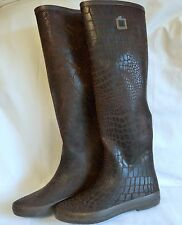 "BOTTES  CAOUTCHOUC ASPECT CROCODILES ""COLORS OF CALIFORNIA""  MARRON P 37"