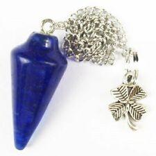 Blue Agate Pendulum & Tibetan Silver Flower Pendant Bead A05704