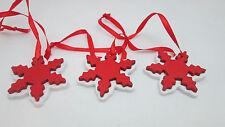 "Miniature 3  Christmas Ornaments - 1 3/4""  Red & White Snowflake"