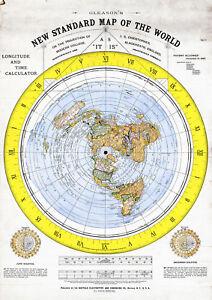 Flat Earth Map 1892 Alexander Gleason Gleason's Standard Map of the World 11x15