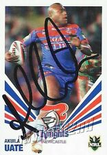 ✺Signed✺ 2012 NEWCASTLE KNIGHTS NRL Card AKUILA UATE Daily Telegraph