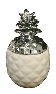 Two Exquisite Small White And Silver Pineapple Trinket Store - New