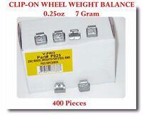 400 Pcs ZN CLIP-ON Wheel Weight Balance 0.25 oz 1//4 oz = 7g  AW025 Zing Led Free
