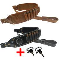 Leather Rilfe Shoulder Straps, 9pcs Round Ammo Cartridge Holder Belt Sling