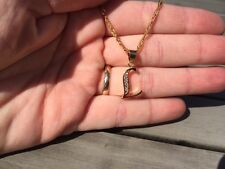 18ct Gold Filled Initial Necklace L, Alphabet Letter Pendant Chain Topaz Name