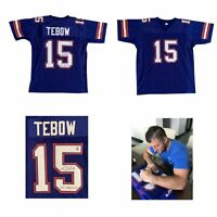 Tim Tebow Autographed Blue Signed Football Jersey 2007 Heisman Trophy + Photo
