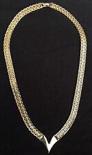 Vintage Napier Herringbone Gold Tone Necklace Collar V Shape