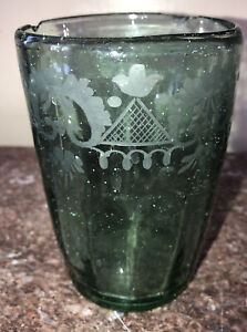 Rare 18th Century Prussian Beer Glass Tumbler Hand Blown Acid Etched Design
