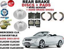 für Mercedes CLK A209 Cabrio HINTERE BREMSSCHEIBE SATZ + Bremsbelag +Sensor+