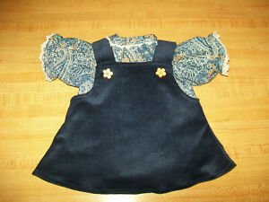 """NAVY CORDUROY JUMPER W/ PAISLEY FLOWER BLOUSE for 16-18"""" CPK Cabbage Patch Kids"""