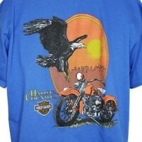 Harley Davidson T Shirt Vintage 90s Country Bald Eagle 50/50 Made In USA Size XL