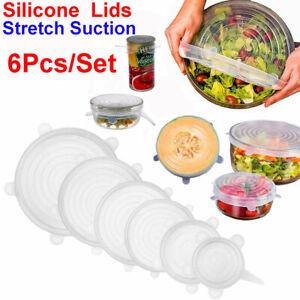 6pcs Reusable Silicone Stretch Lids Kitchen food Storage Wraps Cover Various