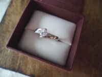 Antique Jewelry Gold Dress Ring with White Sapphires Art Deco Vintage Jewellery