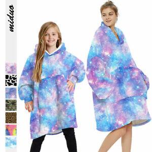 Adult Kid Winter Soft Oodie Comfy Nightwear Fleece Blanket Hoodie Pullover