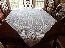 """Vintage Hand Crochet White Lace Bed SideTable Cloth Wedding table 60"""" x 58"""""""