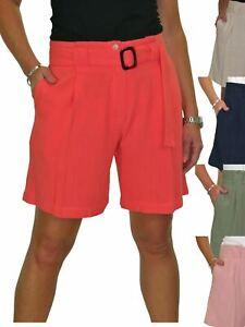 Ladies Summer Wide Leg Linen Shorts Mid Rise 10-22