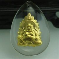 New Hot Sale  Fine 24K Yellow Gold Man-made Crystal Flame Buddha Pendant