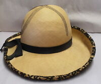 Antique Prestige Swiss Made Straw & Black Lace Ladies Hat Fabrique En Suisse Sml