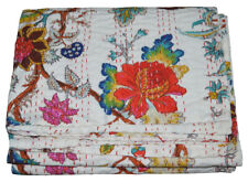 Indian Handmade Twin Cotton Kantha Floral Quilt Throw Blanket Bedspread Vintage