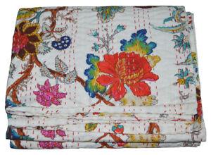 Indian Handmade Twin Cotton Kantha Floral Quilt Throw Blanket Bedspread Vintage