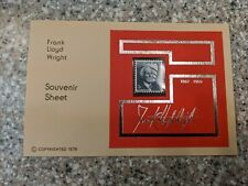 Frank Lloyd Wright Issue Souvenir Sheet, Mint Never Hinged