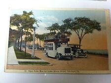 POSTCARD AUTO BUS ON LAKE SHORE DRIVE CHICAGO ILL 1922
