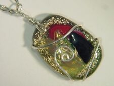 BUTW Sterling Silver Wire Wrapped Gorgeous Dichroic Glass Oval Pendant 3418E
