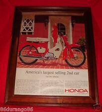 VINTAGE 1963 FRAMED AD HONDA 50 SCOOTER 50CC MOTOR OHV ENGINE OLD AD NEW FRAME
