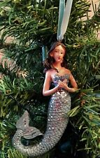 "Snowflakes & Seashells 5"" Mermaid Ornament Blue w/Silver Sparkle Scales Nwt"