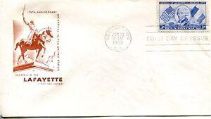 1955 COMMEMORATIVE 3 CENT LAYFAYETTE ARRIVES HOUSE OF FARNUM CACHET AD FDC
