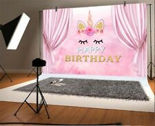 Vinyl Cute Unicorn Pink Curtain Backdrop 7x5 Pink Princess Birthday Background