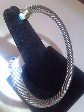 DAVID YURMAN Sterling Silver&14K yg. Classic Cable w/Blue Topaz Cuff Bangle,5mm.