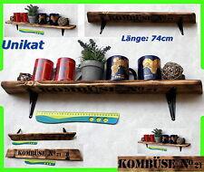 Wandregal Regal Gewürzregal Brett Holzregal altes Holz Küchenregal Altholz 74cm