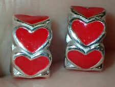 2 Beads 925 Silver Red Hearts ADD TO EUROPEAN STYLE & PANDORA BRACELETS 2359