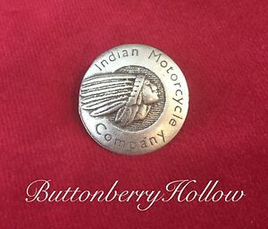 One (1) Brushed Silver Tone Indian Motorcycle Metal Button