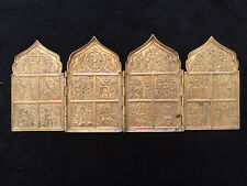 Russian Bronze Four-fold Travel Icon 19th century
